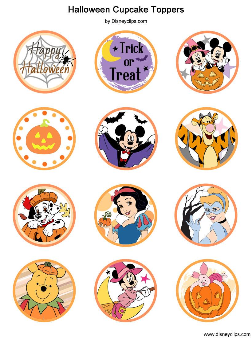 Printable Disney Halloween Cupcake Toppers Disneyclips