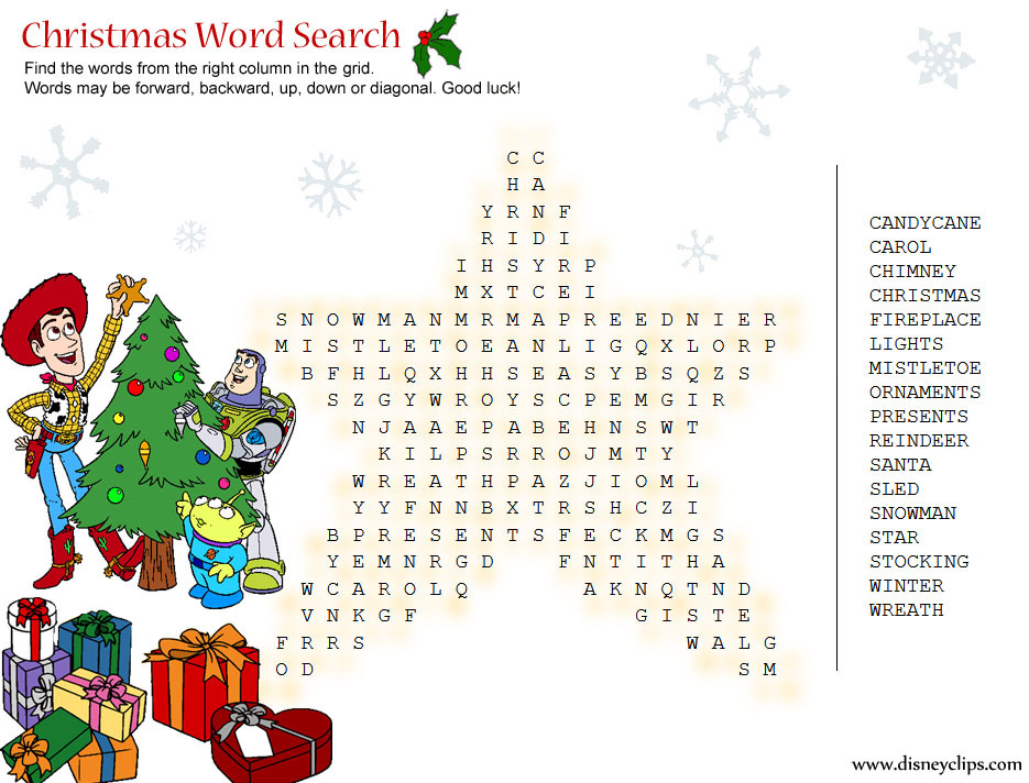 Printable Disney Christmas Word Search Game Disneyclips Com