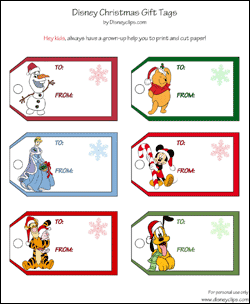 photo relating to Printable Christmas Gift Tags titled Printable Disney Xmas Present Tags
