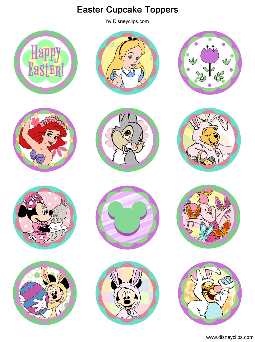 Printable Disney Easter Cupcake Toppers Disneyclips Com