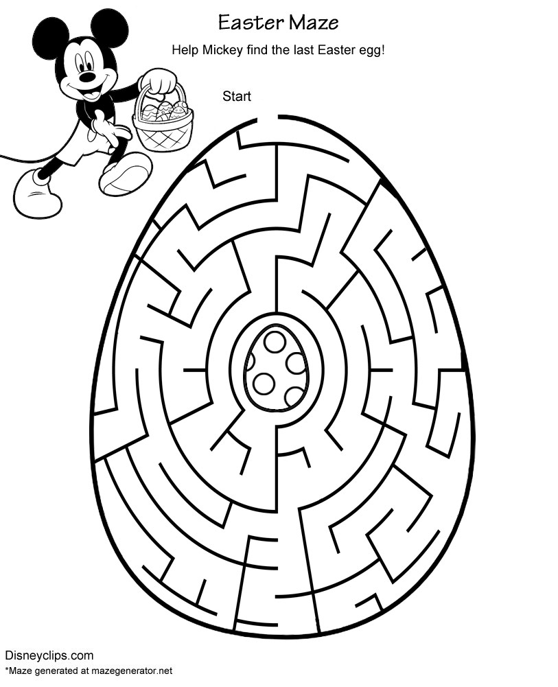 picture relating to Easter Maze Printable titled Printable Disney Easter Mazes