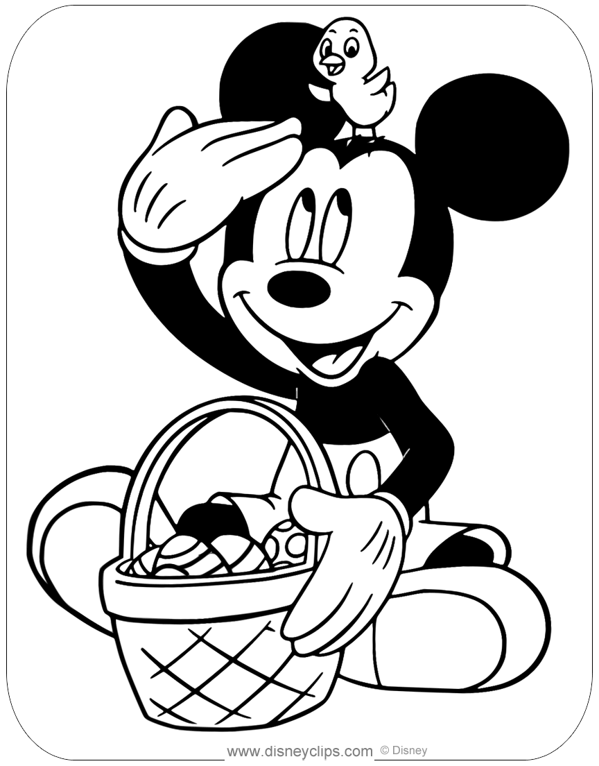 mickey mouse easter coloring pages | Printable Disney Easter Coloring Pages | Disneyclips.com