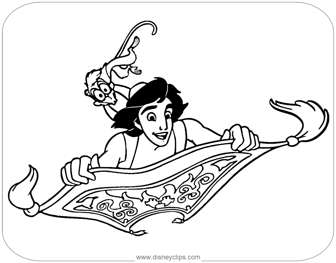 Disney S Aladdin Coloring Pages Disneyclips Com