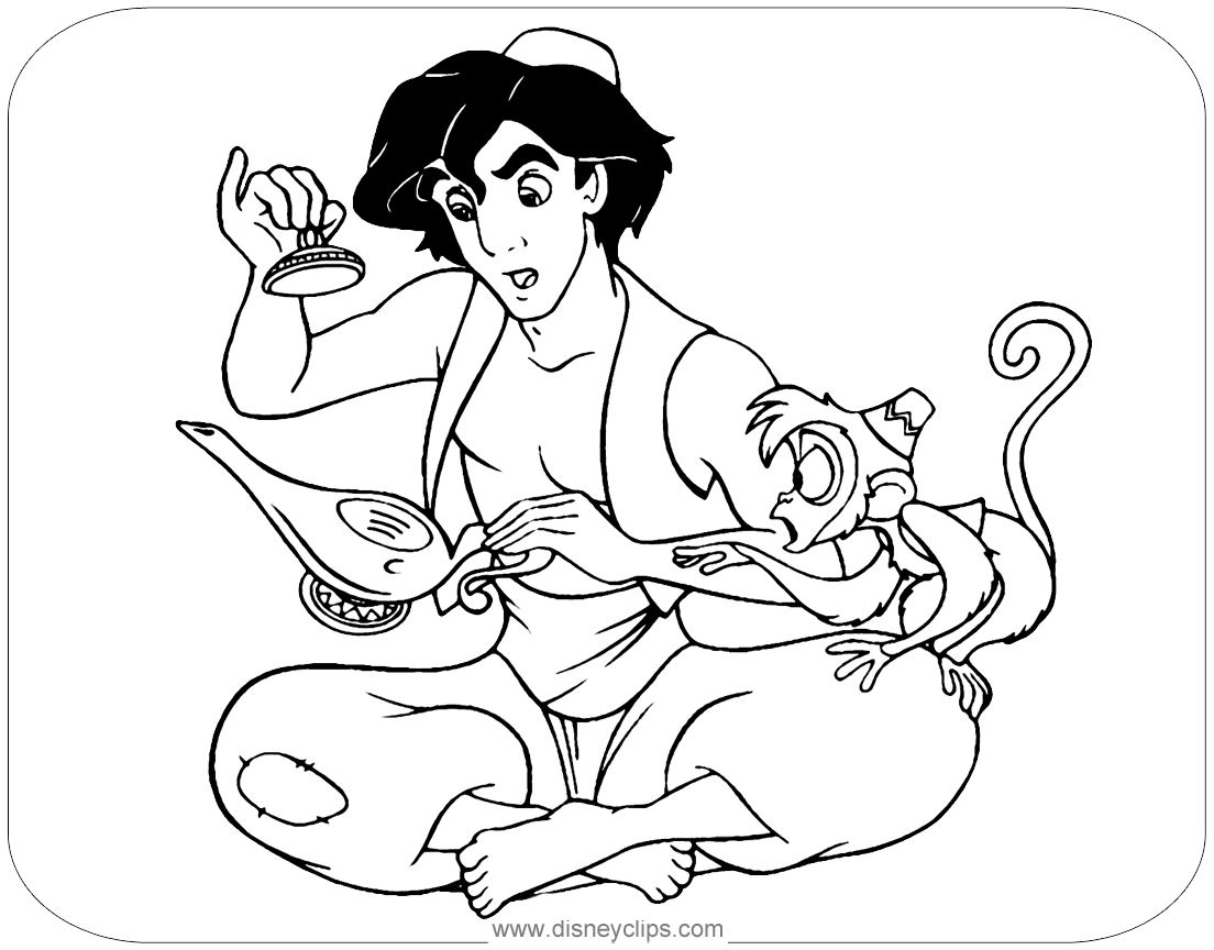Princess jasmine with aladdin coloring pages - Hellokids.com | 864x1104