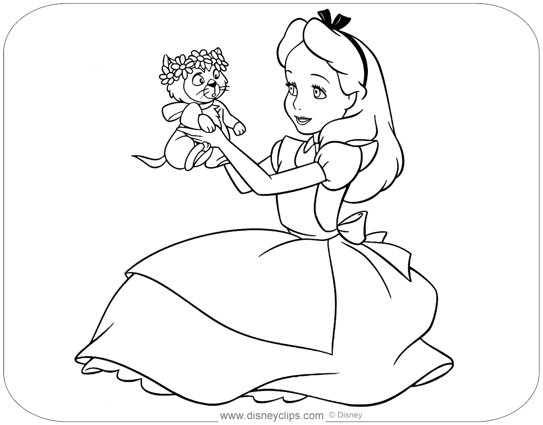 Alice in Wonderland Coloring Pages Disneyclips