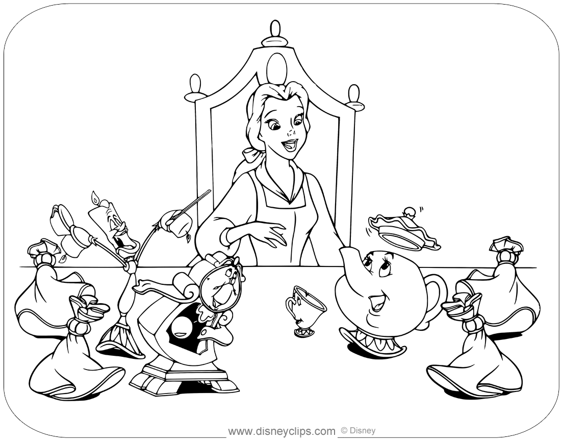 Beauty And The Beast Coloring Pages Disneyclips Com