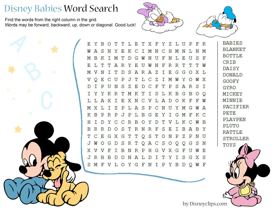 Printable Disney Word Search Games 2