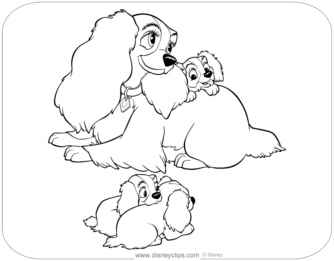 Lady And The Tramp Coloring Pages Disneyclips Com