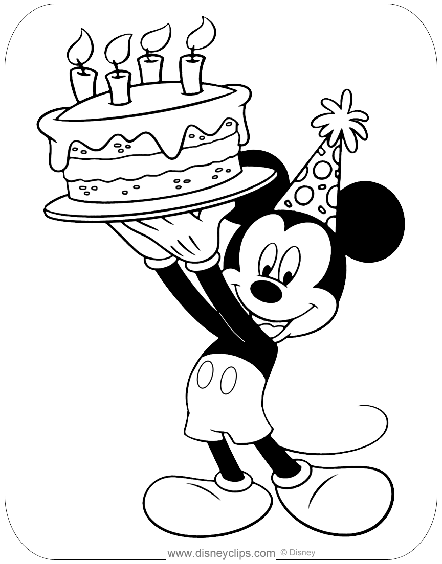 Marvelous Mickey Mouse Birthday Coloring Pages Haramiran Birthday Cards Printable Trancafe Filternl