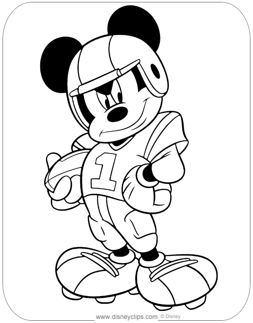 Mickey Mouse Football Coloring Pages | Disneyclips.com