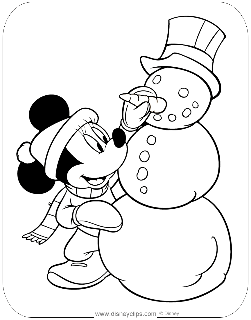 Minnie Mouse Fall & Winter Coloring Pages  Disneyclips.com