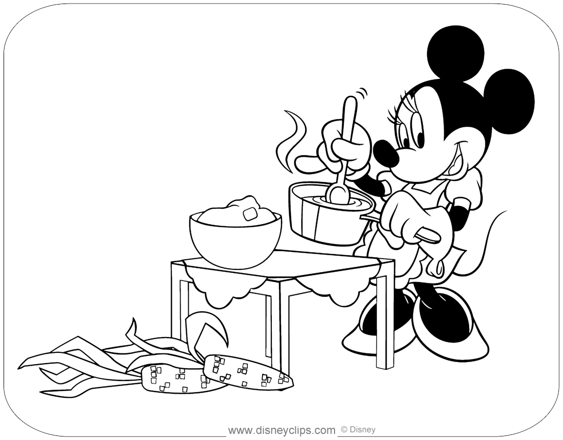 Minnie Mouse Fall Winter Coloring Pages Disneyclips Com