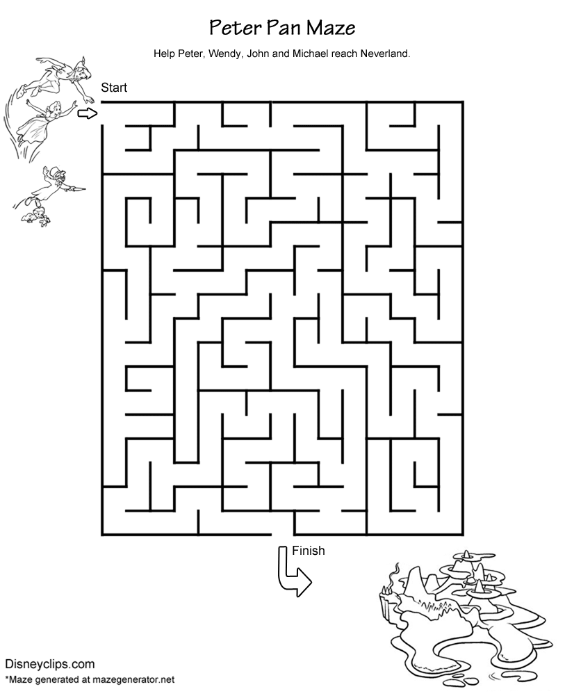 Printable Disney Mazes Disneyclips