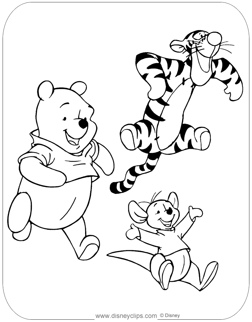 Winnie the Pooh Mixed Group Coloring Pages | Disneyclips.com