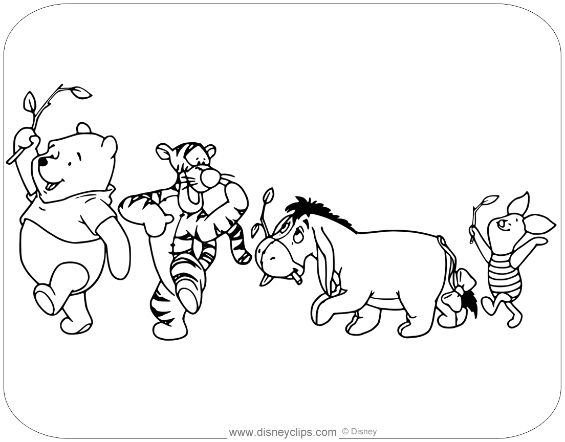 Winnie The Pooh Mixed Group Coloring Pages Disneyclips Com