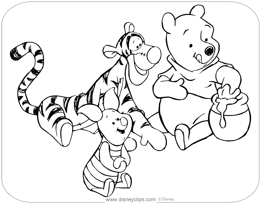 piglet and tigger coloring pages | Winnie the Pooh & Friends Coloring Pages | Disneyclips.com