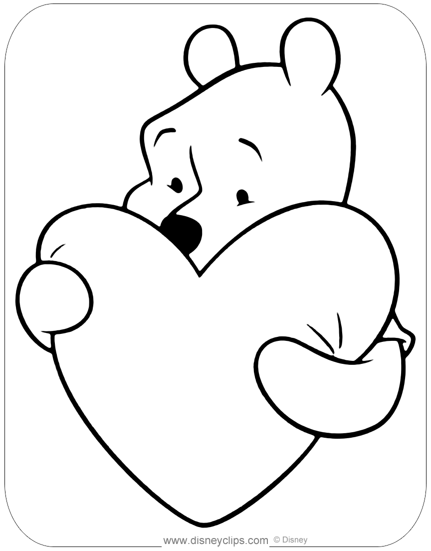pooh valentine coloring pages | Disney Valentine's Day Coloring Pages | Disneyclips.com