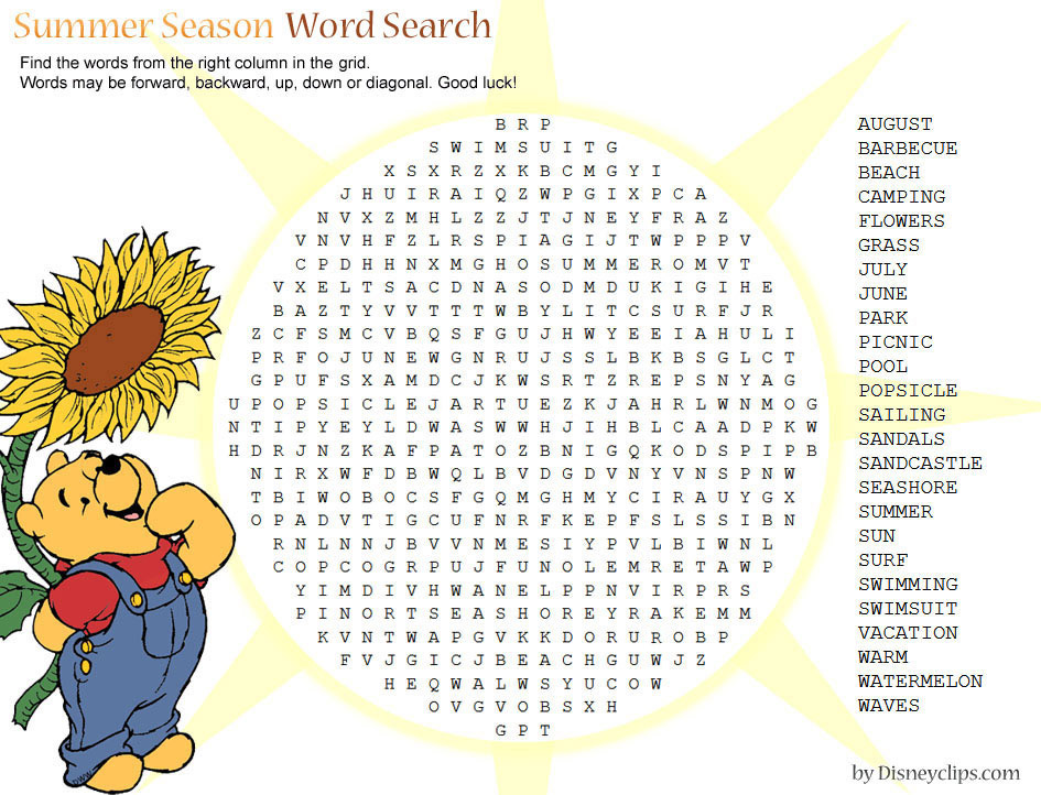 Printable Disney Word Search Games