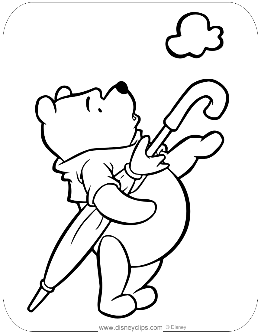 winnie the pooh spring and summer coloring pages