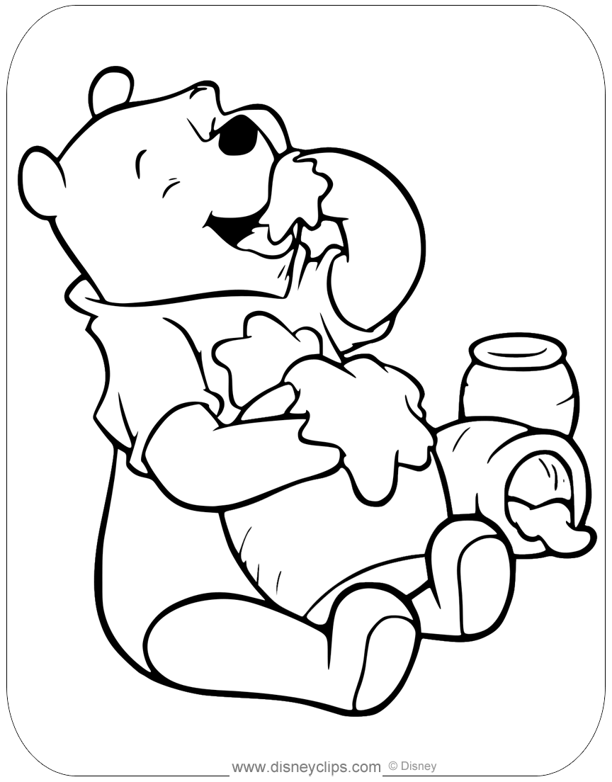 Winnie the Pooh Honey Coloring Pages | Disneyclips.com