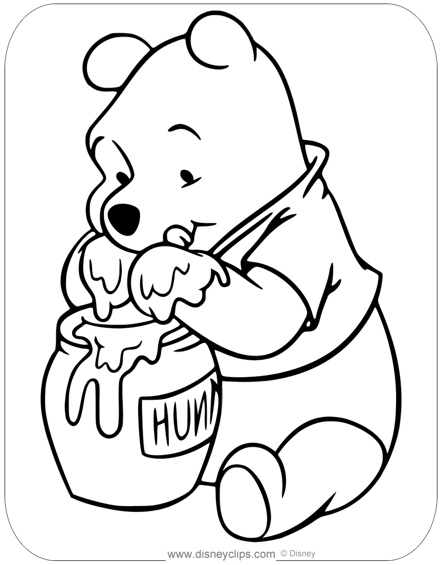 - Winnie The Pooh With Honey Coloring Pages Disneyclips.com