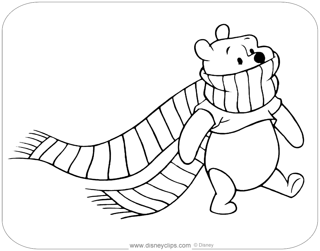 Winnie The Pooh Fall & Winter Coloring Pages