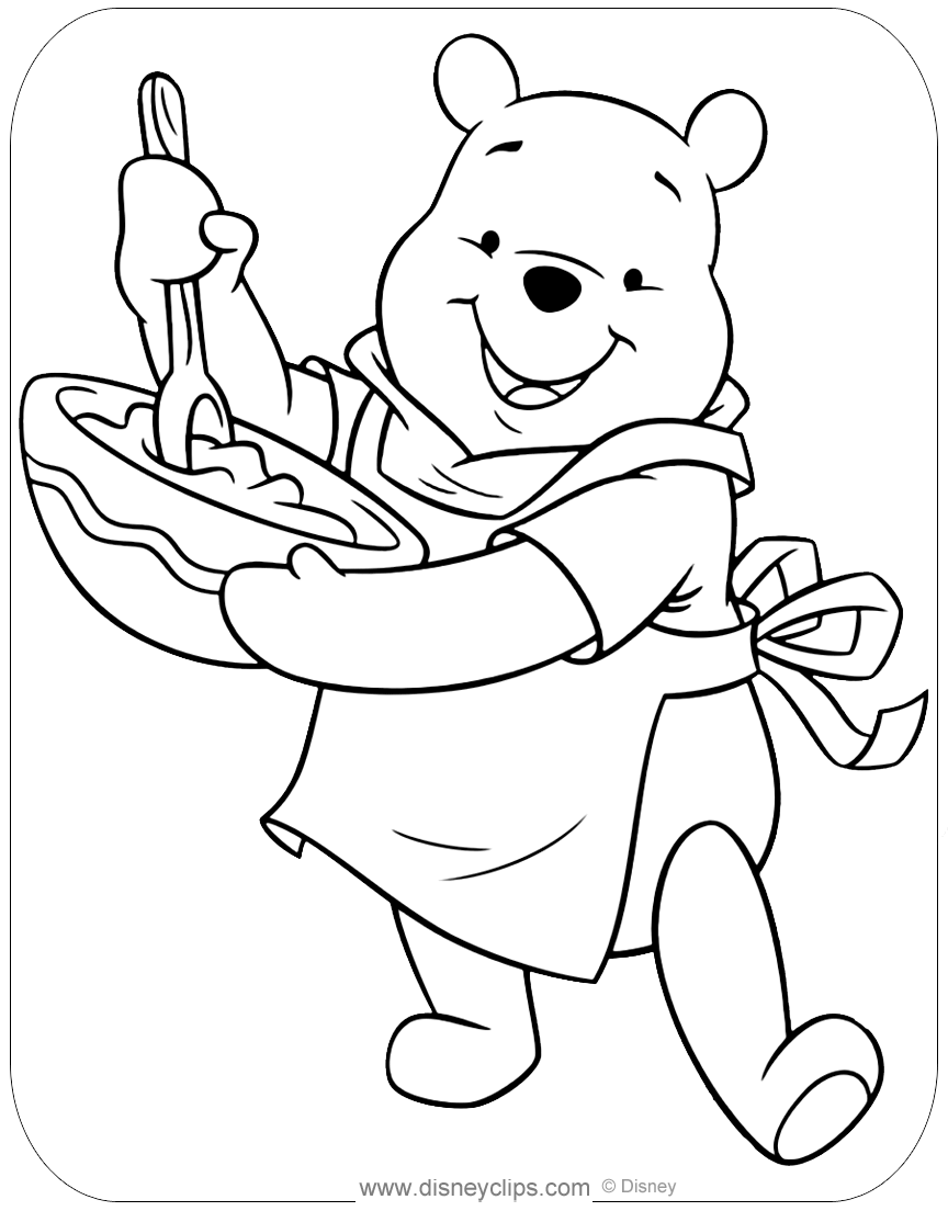 Winnie The Pooh Honey Coloring Pages Disneyclips Com