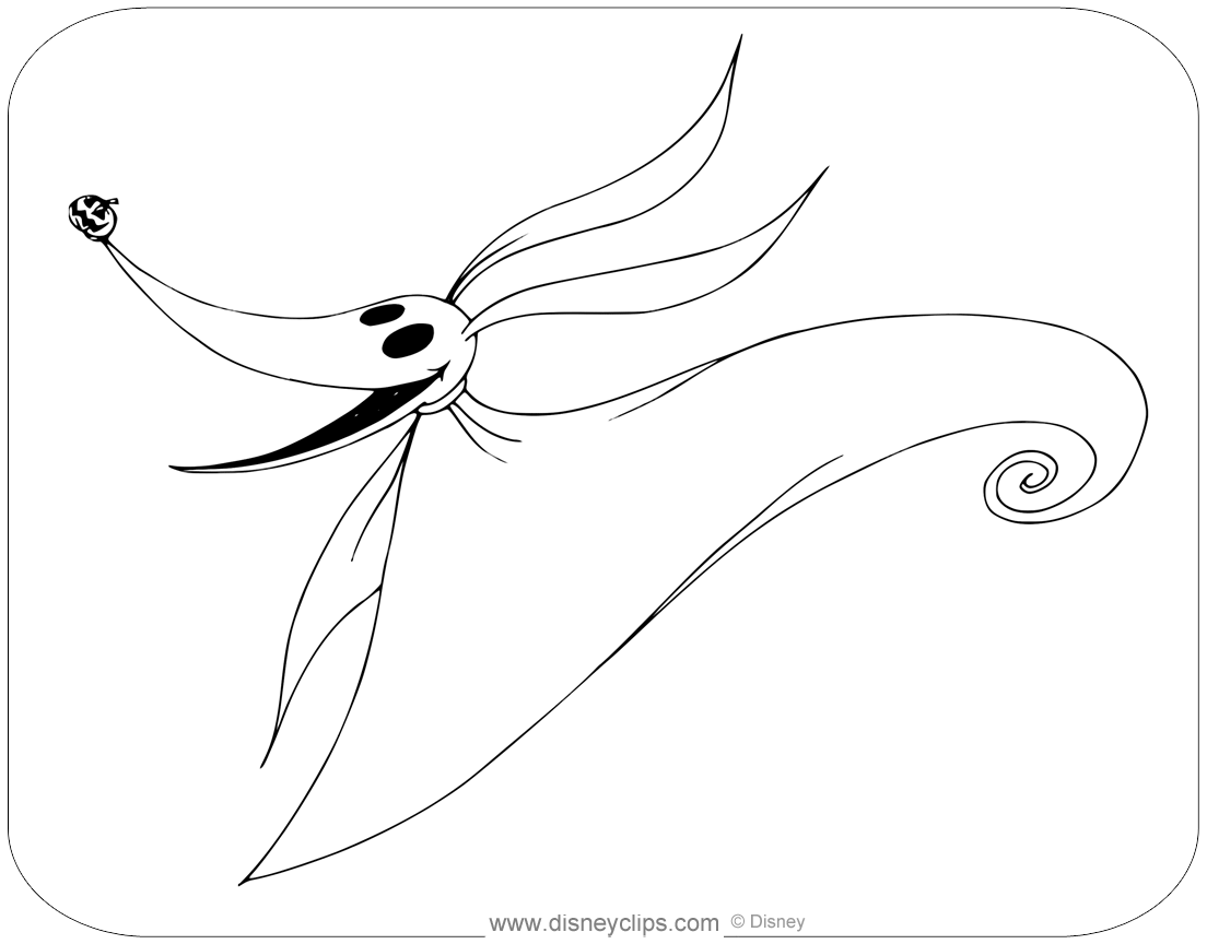 zgma: Printable Zero Nightmare Before Christmas Coloring Pages | 864x1104