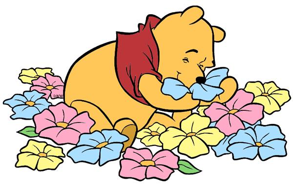 ... ladybug Winnie the Pooh smelling flowers ...