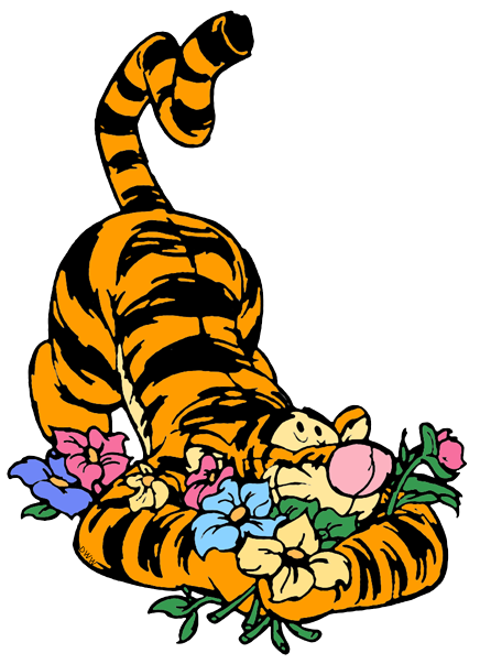 ... Tigger burying himself in flowers ...