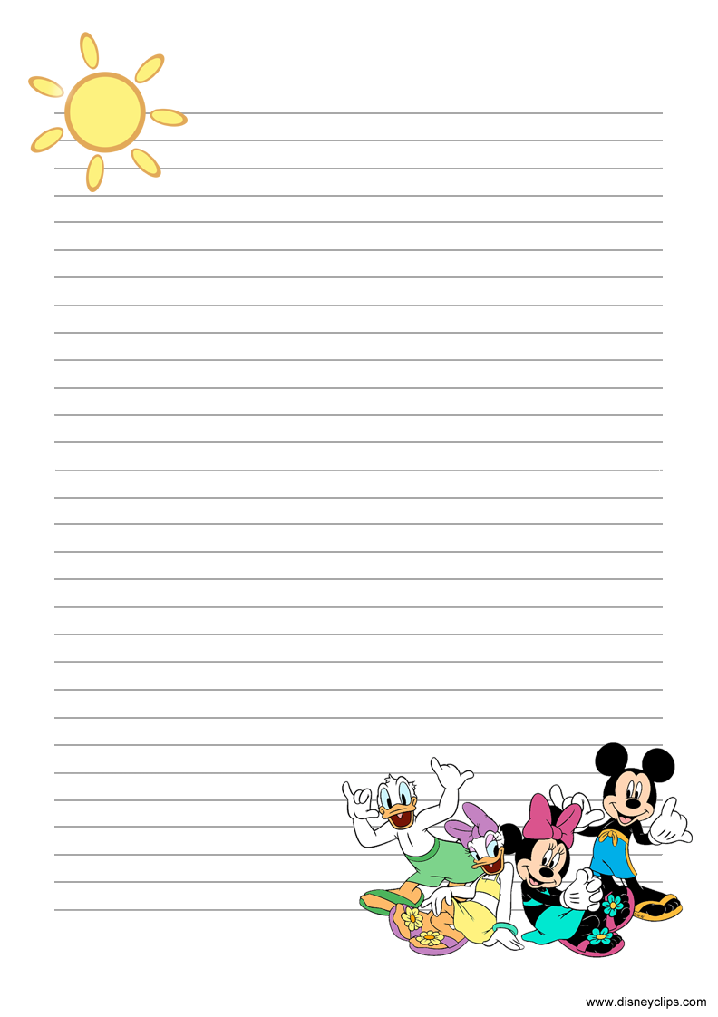 PDF Link Mickey And Friends Stationery