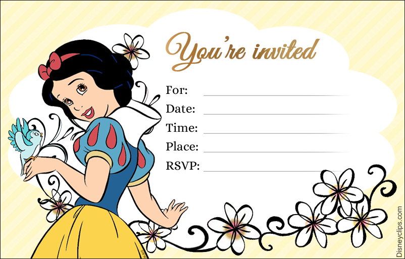 photograph about Snow White Invitations Printable titled Disney Princess Snow White Printables